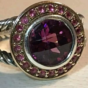 DAVID YURMAN GARNET RING HALOED BY PINK SAPPHIRES